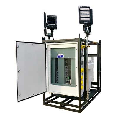 skid base temporary power center power temp systems 225 kva with optional led lights